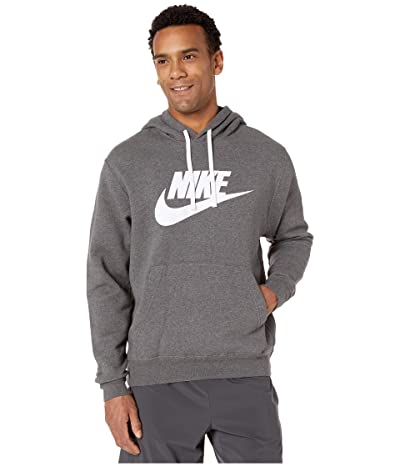 Nike NSW Club Hoodie Pullover Graphics (Charcoal Heather/White/White) Men