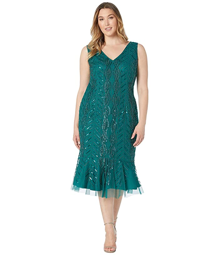 1920s Plus Size Flapper Dresses, Gatsby Dresses, Flapper Costumes Adrianna Papell Plus Size Mini Beaded Cocktail Dress with Flounced Hem Dark Jade Womens Dress $240.50 AT vintagedancer.com