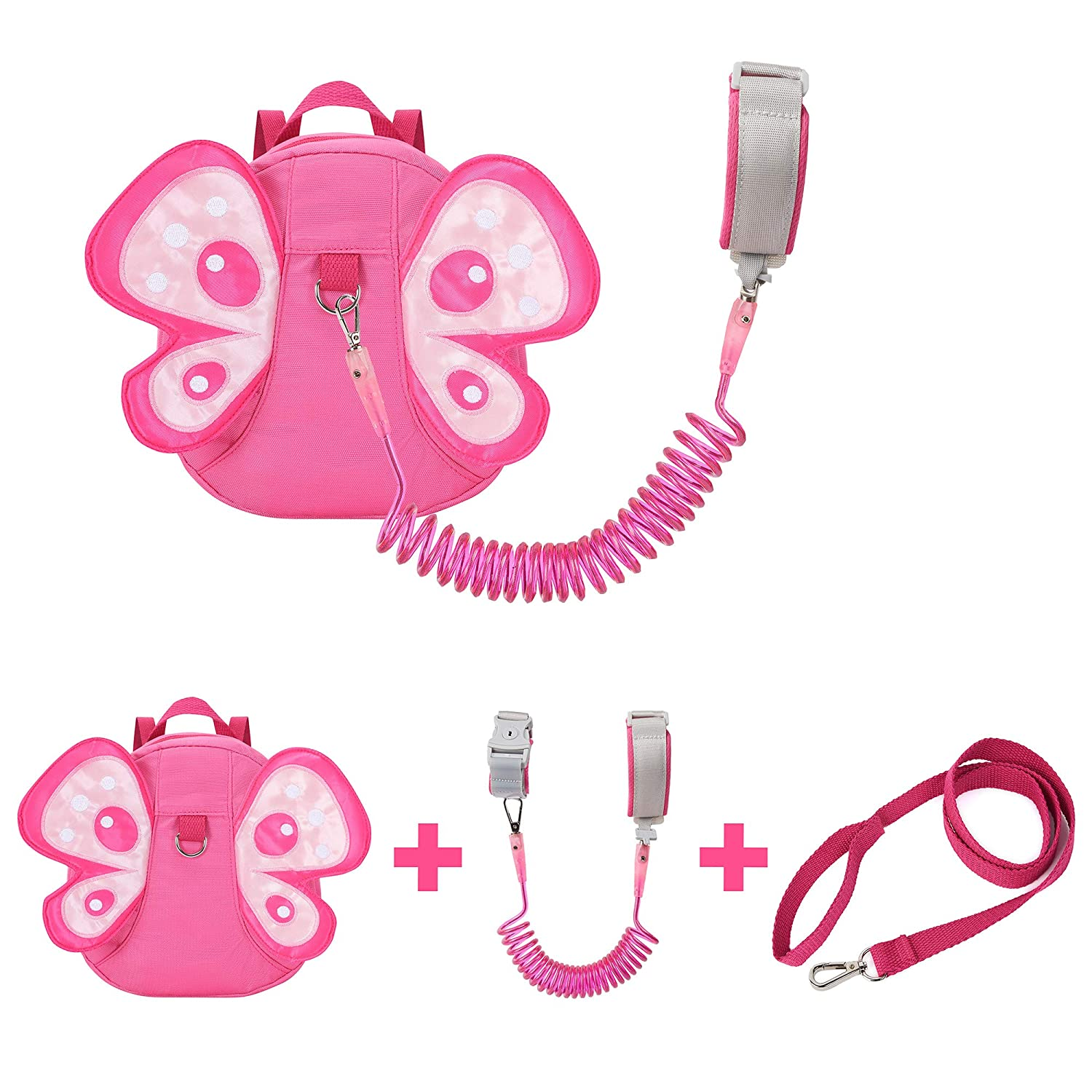 EPLAZA Toddler Leashes Butterfly-Like Backpacks with Anti Lost Wrist Link Wristband for 1.5 to 3 Years Kids Girls Boys Safety (Butterfly Rose)