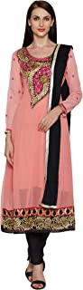 Florence Women's Peach Georgette Embroidered Salwar Suit(SB-3357-Aug2019,FREE SIZE)