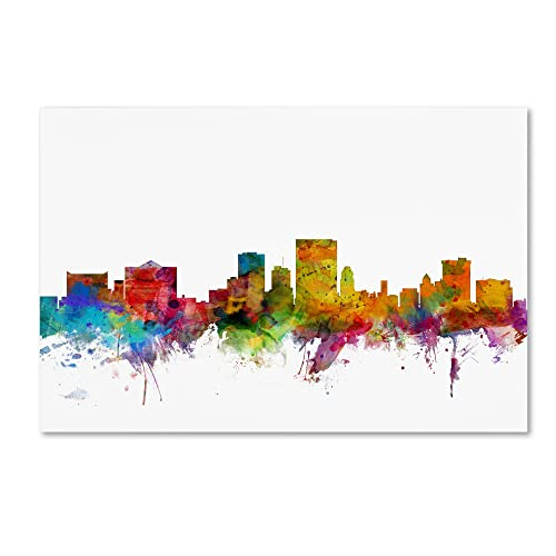 El Paso Texas Skyline by Michael Tompsett, 16x24-Inch Canvas Wall Art