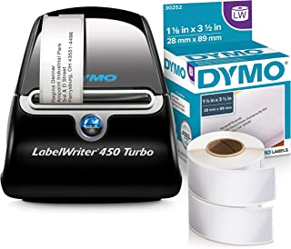 DYMO LabelWriter 450 Turbo Label Maker with 2 Bonus LW White Address Labels, 1-1/8-In. x 3-3-1/2-In., 2 Rolls of 350 Labels