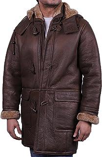 3e3ea43dd7 Brandslock Mens Toscana Genuine Shearling Sheepskin Leather Duffle Trench  Coat