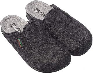 DR.FEET Unisex Natural Wool Felt Lightweight Open Back Rubber Sole Slipper