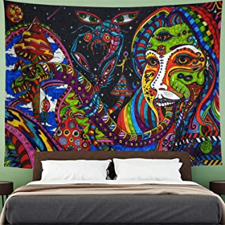 Tapestry Retro Pattern Wall Hanging Psychedelic Tongue Tapestry Abstract Figure Wall Tapestry Hippie Animal Tapestry Ethnical Intricate Wall Decor for Bedroom Living Room Dorm(51