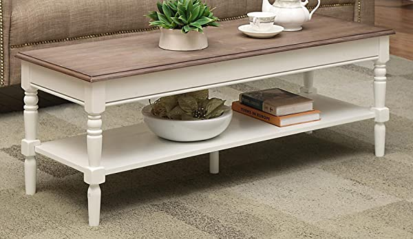 Convenience Concepts French Country Coffee Table Driftwood White