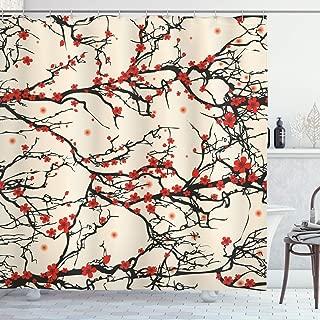 Ambesonne Japanese Shower Curtain, Asian Nature Cherry Blossom Sakura Branch Flowers Art Print, Cloth Fabric Bathroom Decor Set with Hooks, 70 Inches, Cream Vermilion and Dark Brown