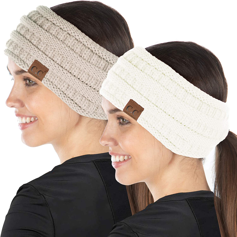 2-Pack Ponytail Headwrap - Beige, Ivory