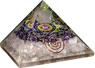 FASHIONZAADI Exclusive Rose Quartz Amethyst Orgone Pyramid with Healing Om Symbol for Gemstone Stone Energy Chakra Balancing Reiki Healing Meditation Spiritual Gift for Size: 2.5-3 Inch