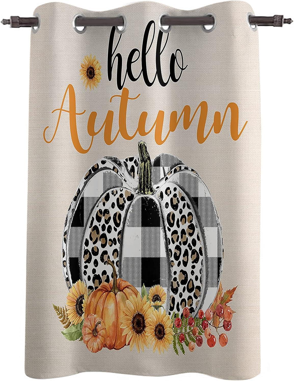 Blackout Curtains Leopard Plaid Pumpkin Linen Outlet sale feature 1 Watercolor High order Retro