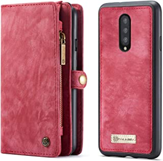 Wallet Case for OnePlus 7 Pro Folio Zipper PU Leather Case with Detachable Magnetic Back Case Cover Red