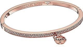 Michael Kors Rose Gold-Tone Steel & Pavé Padlock Hinged Bracelet