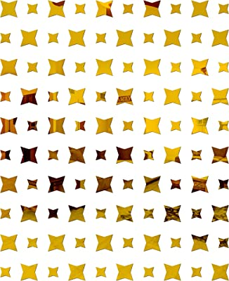 Look Decor SAG 50 Large 50 Small Star Golden 3D Mirror Acrylic Wall Sticker Decoration for Kids Room/Living Room/Bedroom/Office/Home Latest Wall Art Number 1236