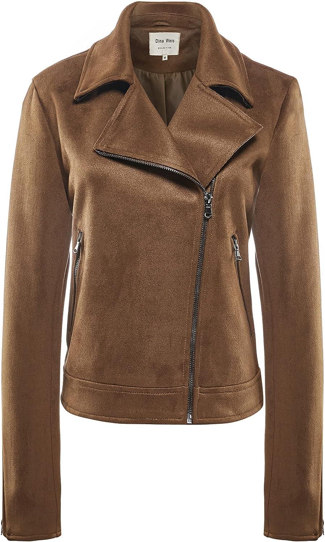 Women's Notch Collar Casual Cropped Jacket Faux Suede Long Sleeve Zip Up Slim Moto Biker Short Coat