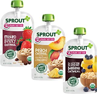 Sprout Organic Baby Food Pouches Stage 2, Blueberry Banana Oatmeal, Mixed Berry Oatmeal, Peach Oatmeal with Coconut Milk &...