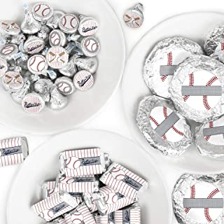 Batter Up - Baseball - Mini Candy Bar Wrappers, Round Candy Stickers and Circle Stickers - Baby Shower or Birthday Party Candy Favor Sticker Kit - 304 Pieces