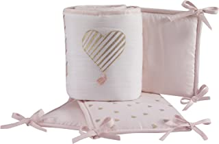 Lambs & Ivy Baby Love 4-Piece Crib Bumper Pads- Pink/Gold/White with Hearts