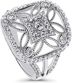 Rhodium Plated Sterling Silver Cubic Zirconia CZ Statement Art Deco Flower Cocktail Fashion Right Hand Ring
