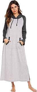 Ekouaer Sleepwear Women Long Sleeve Hooded Nightgown Contrast Color Full Length Loungewear with Pocket