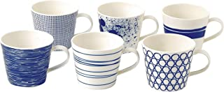 Royal Doulton Pacific 40009466, Large Mug 400ml, Mixed Set of 6, Blue, Porcelain, 0.45ltr
