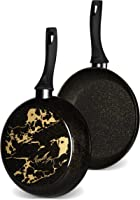 Rossetti® Made in Italy Heavy-Duty Forged Cookware | 28cm Frypan Black & Gold Skillet | No-Mess No-Fuss Fry Pan |...