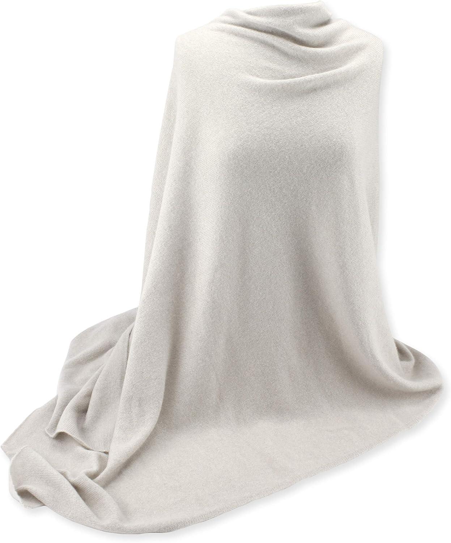 Jet&Bo 100% Pure Cashmere Travel Wrap, Scarf & Blanket Ivory, Storage Bag + Gift Box