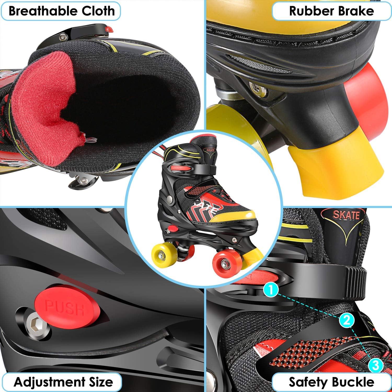 Pattini a rotelle per bambini bambini con tripla serratura a rete misura regolabile per principianti ragazzi e ragazze in PVC Hikole traspirante