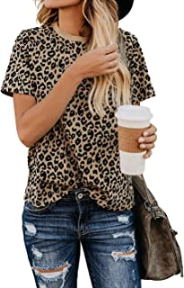 Women's Leopard Print Long Sleeve Crew Neck Fit Casual...