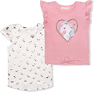 Girl's 2-Pack Unicorn Heart Blouse and Graphic Tee Shirt, Pink Short Sleeve Tops