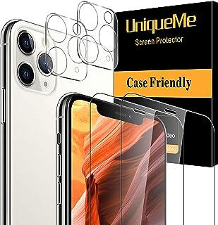 [2 Pack]UniqueMe Protector de Pantalla para iPhone 11 Pro Max (6.5) y [2 Pack] Protector de lente de cámara para iPhone 11 Pro Max cámara  [Cobertura máxima][Sin Burbujas] HD Cristal Vidrio Templado