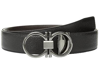 Salvatore Ferragamo Adjustable/Reversible Belt 9661 (Black/T-Moro) Men