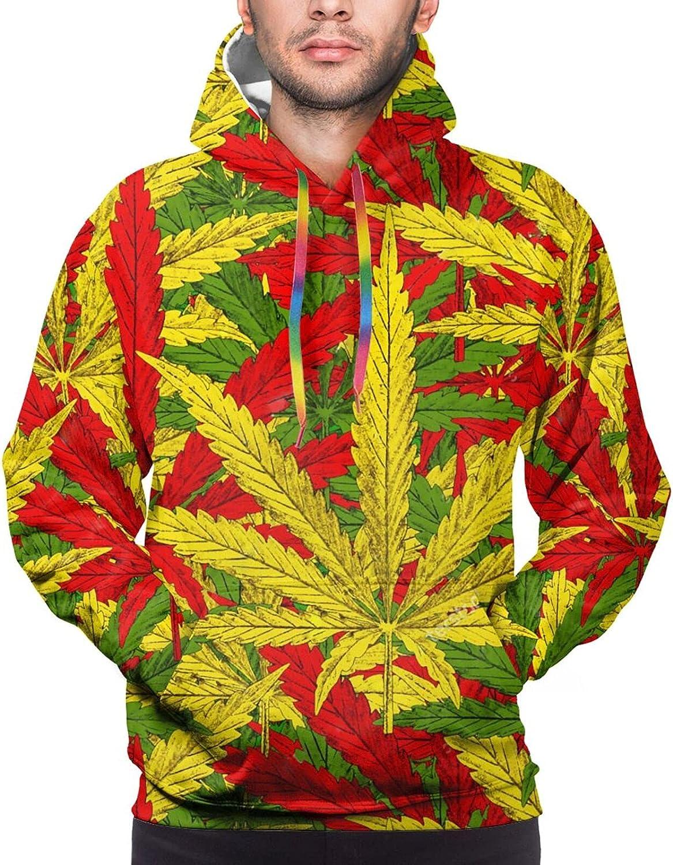 Hoodie For Men Women Unisex Red Yellow Green Weed Leaves Double-Sided 3d Sweatshirt Hoodie