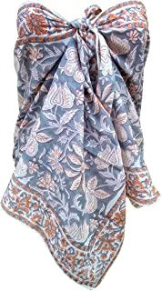 FIKIMOS Sarong/Cum Mini Bufandas de algodón puro diseño indio bloque de mano impreso mini stoll para niñas, mujeres 70x20 ...