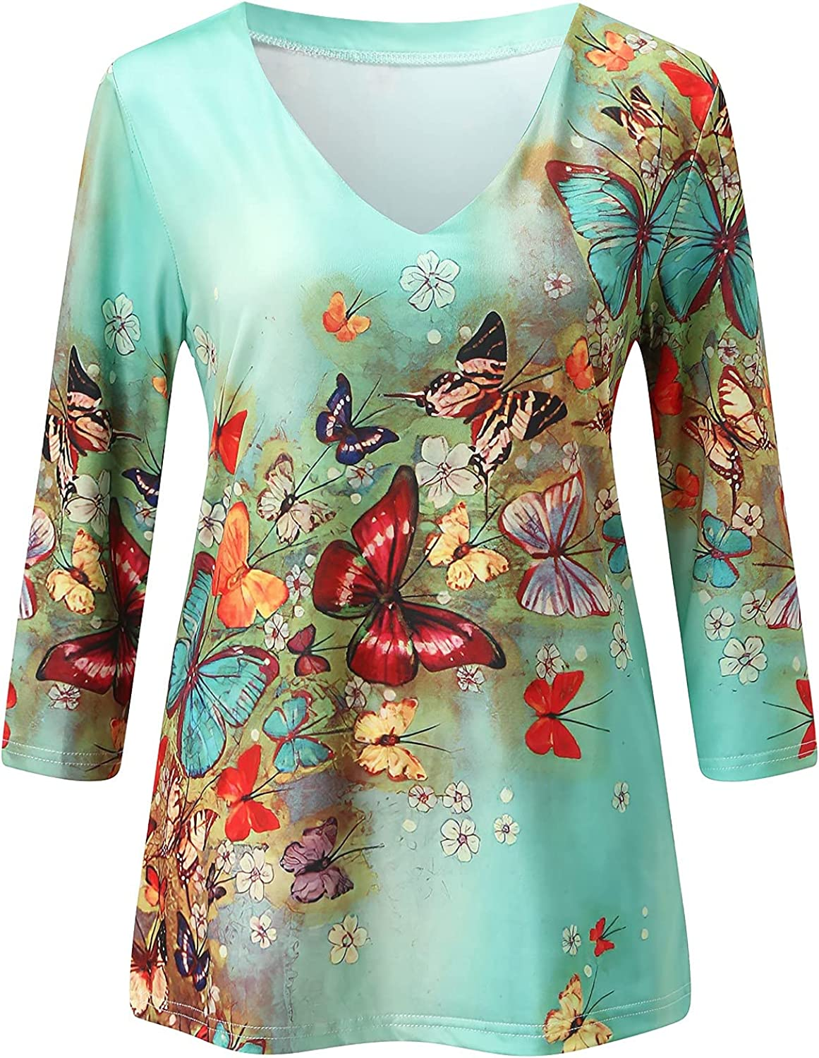 Pandaie Floral Print Shirts for Women Loose Neck Tees V Rare F Casual Nashville-Davidson Mall