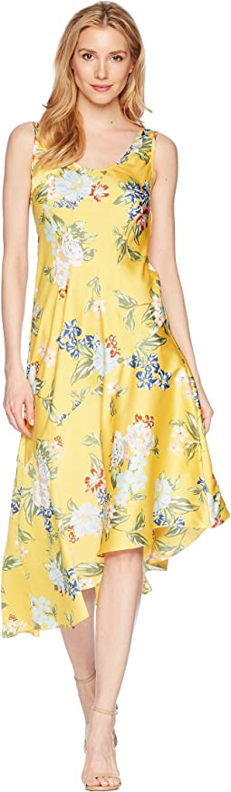 Sleeveless Printed Slip Dress with Asymmetrical Hemline