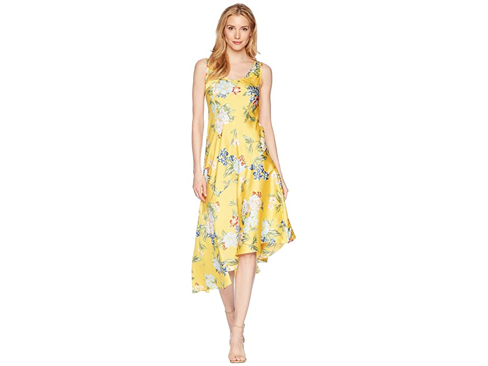 Donna Morgan Sleeveless Printed Slip Dress with Asymmetrical Hemline (Sunny Yellow/Blue Multi) Women