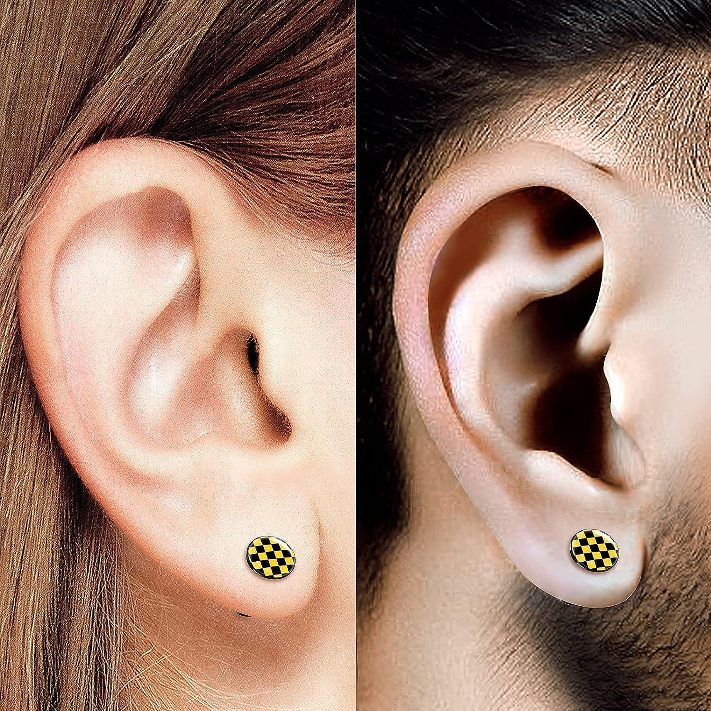 BIG GAUGES Pair of Black Acrylic Yellow Checker Logo Double Flared Saddle Piercing Jewelry Stretcher Earring Ear Lobe Flesh Plugs