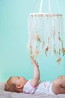 """Dreamcatcher Crib Mobile Baby Dream Catcher Mobile Bohemian Nursery Decor Diam9.2""""/23 cm Ivory and Pale Pink Lace, Beige/Yellow Beads and Feathers Nursery Mobile Cot Mobile Dream catcher"""
