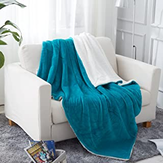 JML Sherpa Blanket Throw, Plush Soft Reversible All Season Lightweight Fleece Bed Throw Blanket for Bed Couch, 50