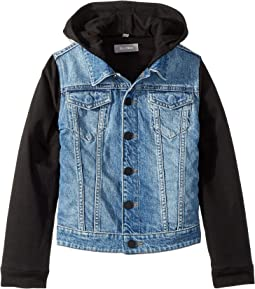 Manning Mid Wash Denim Jacket with Black Knit Sleeves and Hood (Toddler/Little Kids)