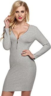Best sweater dress with zipper front Reviews