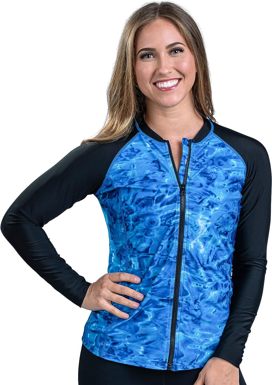 Aqua Design Women's Full Zip Guard: Rash Gorgeous Sleeve Front Long store