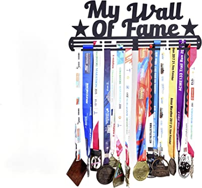 RUNWYND Wall of Fame 2 Stars Metal Medal Hanger with 3 Rows - Black