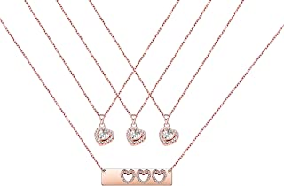 Daughter Gifts Mother Daughter Necklace Cubic Zirconia Love Pendant Necklace Mother's Day Gift