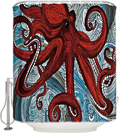Waterproof Fabric Shower Curtain Liner With Red Octopus Oil Painting Design 60x72 Inches