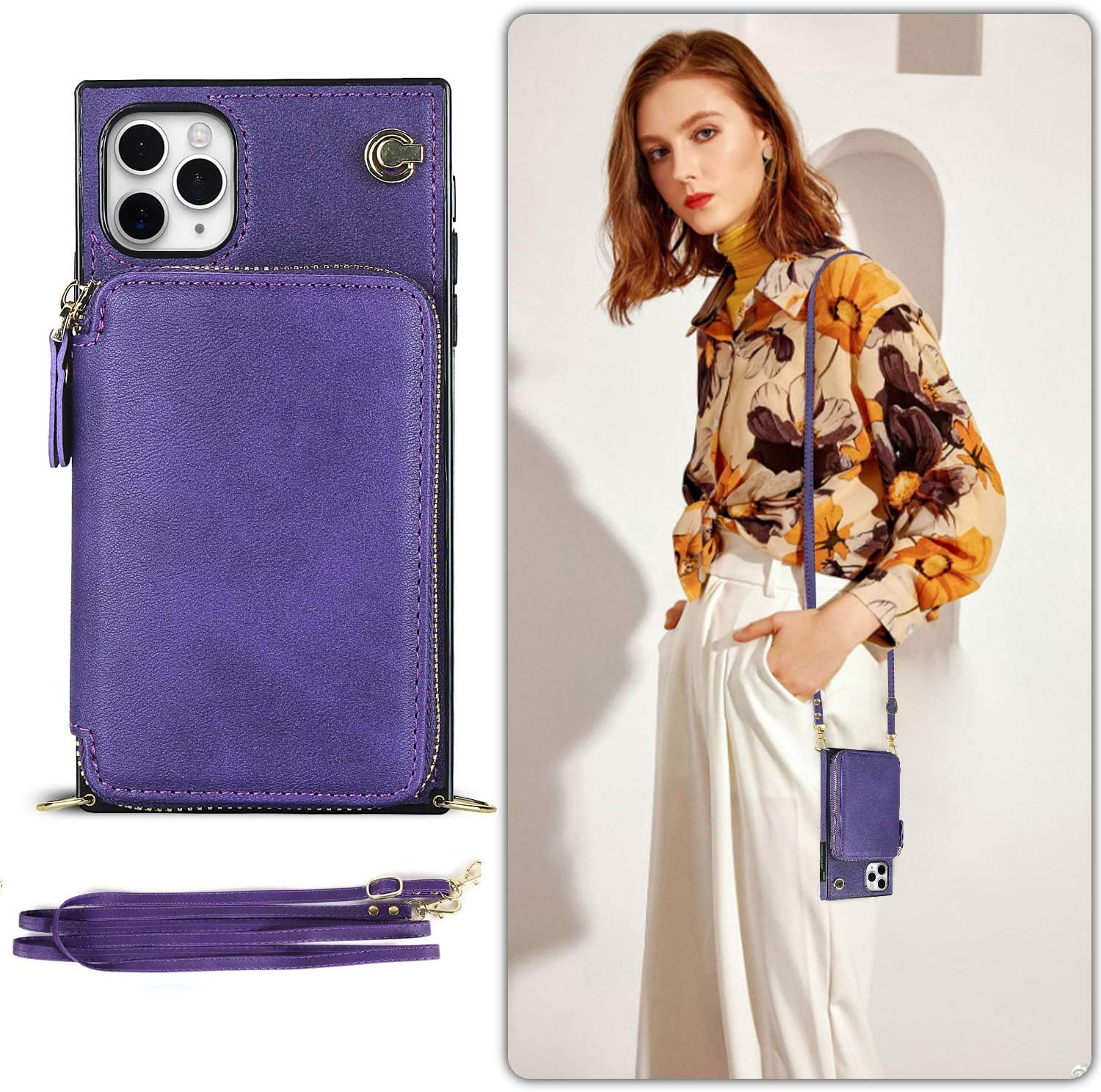 LUVI Wallet Card Holder for iPhone 11 Pro Case with Crossbody Neck Strap Lanyard Purse Handbag Shoulder Strap Protection Cover PU Leather Kickstand Stand Case for iPhone 11 Pro 5.8 inch Purple