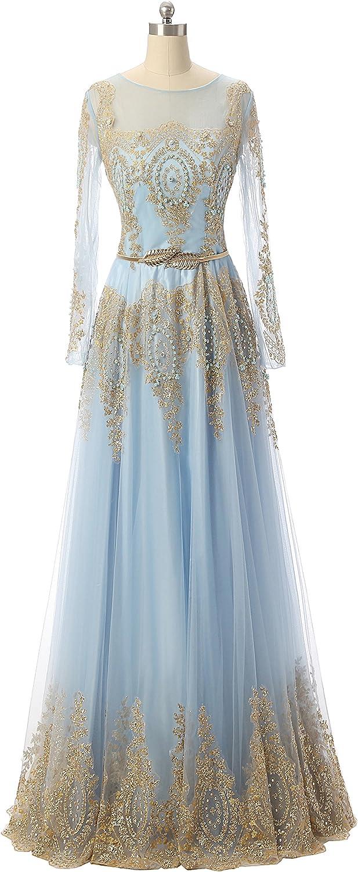 OkayBridal Women's Boat Neck gold Lace Beaded Long Sleeve Prom Dresses