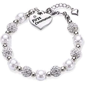 HanlinCC 6mm Glass Pearl Prayer Beads First Communion Rosary with Chalice Center Piece and Crucifix in Anti-Silver Plated for Girl Pack in Holy Cup Metal Gift Box
