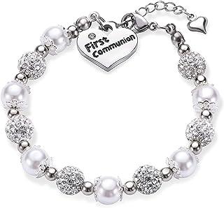 First Communion Girls Charm Bracelet Baptism Gift Handmade Jewelry