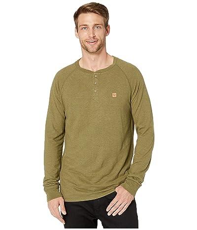 tentree Boulder Long Sleeve Henley (Moss Green) Men